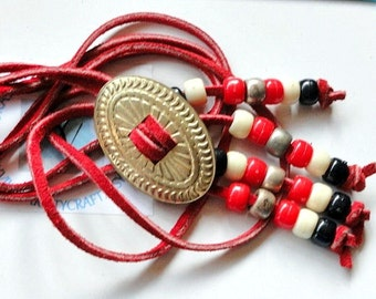 CLEARANCE SALE Vintage Red Leather Silver Concho Lariat Necklace, Jewelry Making, Craft Bead Supply Destash Lot
