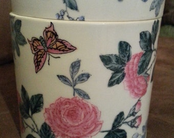 Hand Decorated Lidded Porcelain Cylindrical Canister Caddy Box