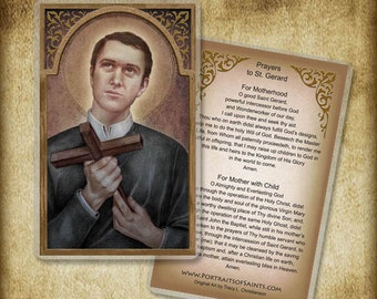 St. Gerard Majella Holy Card or Wood Magnet  #0091