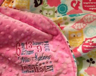 Minky blanket with baby's stats embroidery