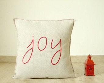 Joy pillow cover, linen pillow cover, red word pillow, country home decor, rustic pillow linen blend pillow
