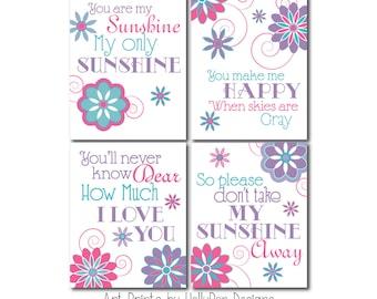 Girl Nursery Decor You are My Sunshine Wall Art Girls Room Wall Art Pink Purple turquoise Prints Toddler Girls Room Pink Purple Art Prints