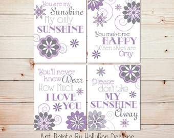 Baby Girl Nursery Decor You are My Sunshine Purple Gray Nursery Wall Art Set of 4 Prints Floral Nursery Wall Decor Girls Room Wall Art #0887