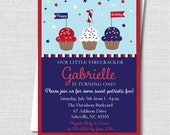 Fourth of July Kids Birthday Invitation - Patriotic Cupcake Party - Digital Design and Printed Invitations - FREE SHIPPING