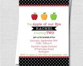 Apple Birthday Party Invitation - Apple of Our Eye Theme Birthday - Digital Design or Printed Invitations - FREE SHIPPING