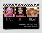 Trick or Treat Black Chevron Photo Card - Halloween Greeting Card - Happy Halloween Card - Digital Design