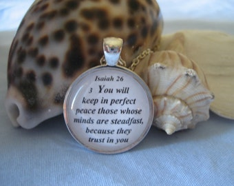 You Will Keep In Perfect Peace Scripture Necklace Bible Verse Isaiah 26:3