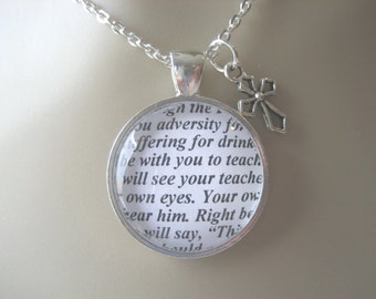 Scripture Necklace Bible Verse Isaiah 30:20-21 Though The Lord Gave You Adversity