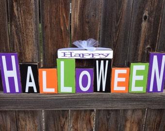 SALE Happy Halloween wood blocks