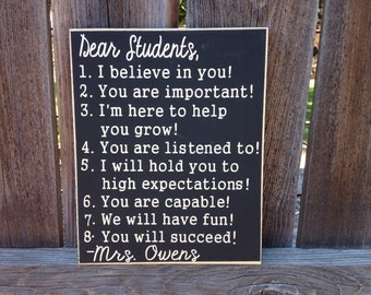 Dear Student Sign, Expectations classroom decor- teacher gift
