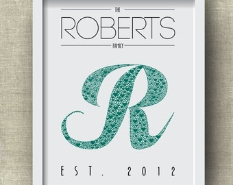 Personalized Initial Art Print with Family Name and Family Established Date --  Letter R Monogram Art Print with Hearts