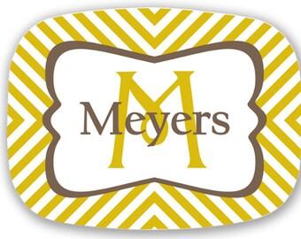 Personalized Melamine Platter - stripe christmas