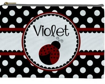 Personalized cosmetic bag - kids pencil bag ladybug