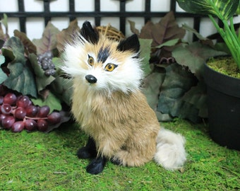 Standing Fox Replica Adorable Furry Animal Taxidermy Figurine Decor Cabin Red