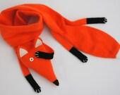 Fox scarf kids - Kids Red Fox scarf - Faux Fox knitted scarf - Knitted scarf - Child scarf - Knitted baby scarf - Knit scarf