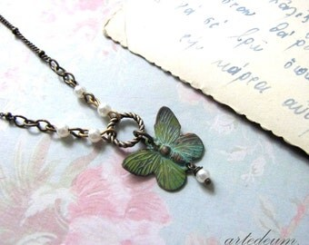 Butterfly Necklace Verdigris Patina vintage necklace Nature Inspired Antique bronze Romantic short dainty Boho jewelry Gift for her