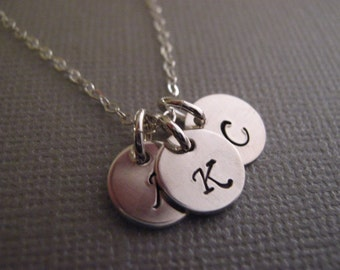 1, 2 or 3 Initial Necklace, Personalized Jewelry, Tiny Double Initial Charm Necklace, Silver Discs, Personalized Gift