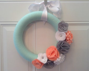 Bridal Wreath, Modern Spring Wreath, Mint, Coral, Grey and White Yarn Wreath,  Door Wreaths, Melon and mint, Front Door Wreath