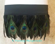 Quick Release Burlesque Dance Costume Peacock & Black Feather Mini Skirt