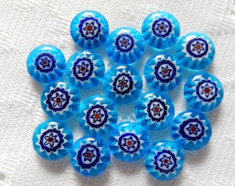 17  Turquoise Red White & Blue Flower Millefiori Rounded Puffed Lampwork Glass Beads  13mm