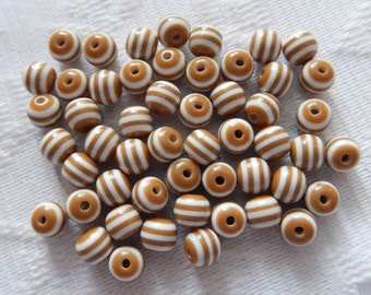 25  White & Mocha Brown Striped Round Resin Acrylic Beads  6mm