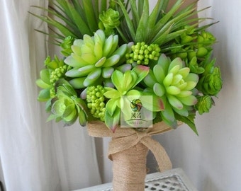 wedding bouquet artificial flower succlent, natural forest style