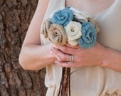 DIY Burlap Rose Bouquet in Light Blue Natural and Ivory