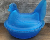 "Vintage Westmoreland Blue ""Hen on Nest"" Dish"