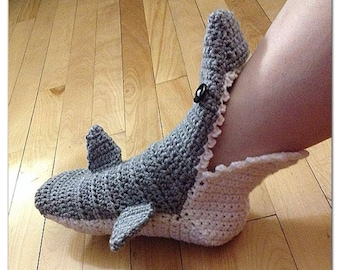 Crochet Shark Slippers Free Pattern For Adults : Crochet Shark Slipper booties/ socks, Adult Men/Womens ...