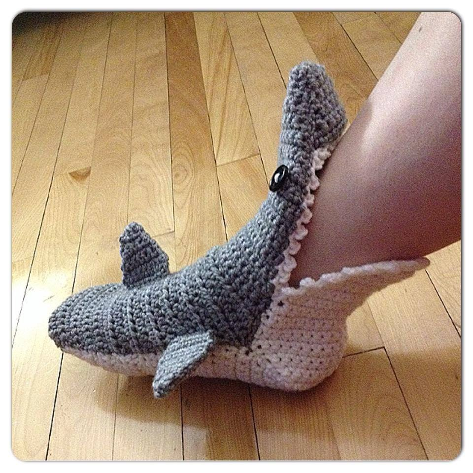 made to order crochet shark slipper booties socks adult 128270zoom
