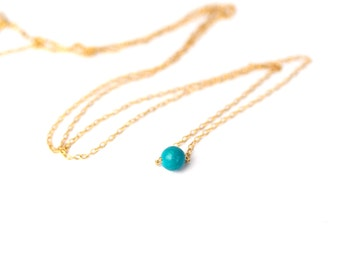Turquoise necklace - dot necklace - simple necklace - minimalist - everyday necklace - a tiny turquoise bead on a 14k gold vermeil chain