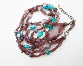 Vintage necklace 3 strands glass beads earth colors chocolates and earth blues FREE USA SHIPPING