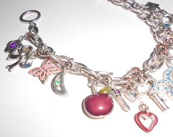 """Vintage charm bracelet chunky chain and full of old 16 charms 8"""" long Free USA Shipping"""