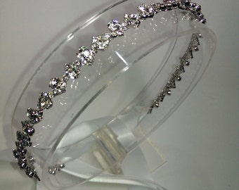 Rhinestone headband, wedding headband, wedding hair accessory, ribbon tie headband, Rhinestone headband with white satin hair tie
