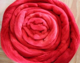 Red Merino Roving - Moon Stone Farm Yarn