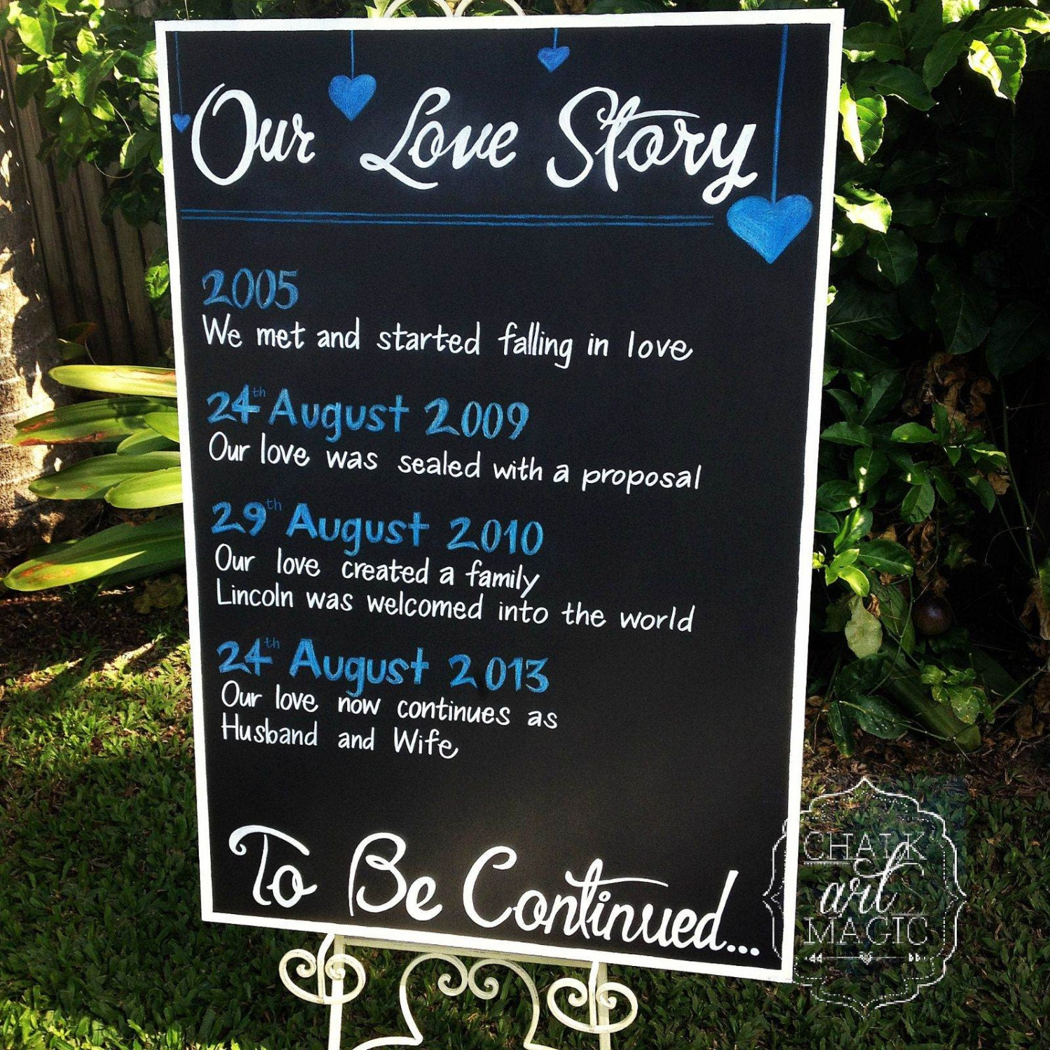 Our Love Story Wedding Idea: Our Love Story Wedding Chalkboard Sign. By ChalkArtMagic