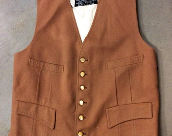 Men's wool tan vest west England cloth manufactured by strachan & co ltd. Frederick Nelson
