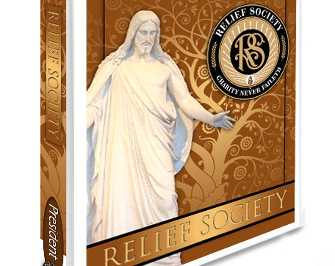 Printable Binder Cover and Spines. LDS Christ Art with Relief Society Emblem. Instant Digital Download File.