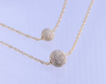 Mother and Daughter gold bead necklace set, Gold filled ball necklace, Gold filled stardust necklace