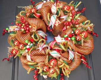 SALE***Christmas Deco Mesh Wreath, FREE Wreath Hanger, Poly Deco Mesh, Christmas Wreath