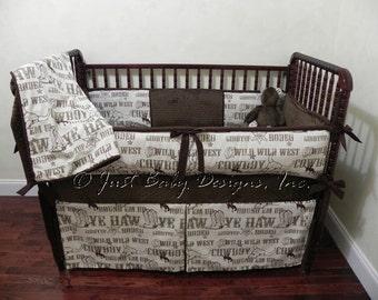 Cowboy Crib Bedding Set Laramie - Boy Baby Bedding, Western Crib Bedding