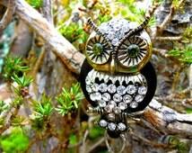 Decorative Owl Badge Reel - Retractable Badge Holder - Rhinestone ID Clip - Nurses Gift - Nurse Jewelry - Lanyard