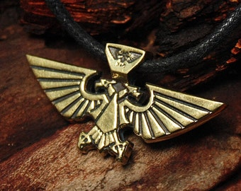 Warhammer 40k Aquila Imperial Eagle Space Marines Video Game Brass Pendant Necklace