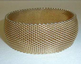 Vintage Wide Gold Plate Mesh Bracelet Retro Cuff Flexible Mesh Bangle