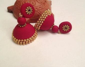 Handmade traditional Indian jhumka/ jhumki earrings red