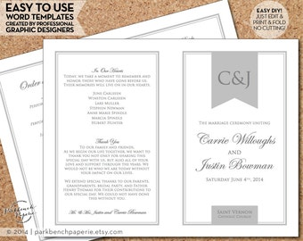 Wedding Program Template, Order of Ceremony - DIY Template, Instant Download, Printable wedding template, order of service