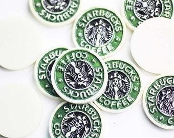 2 pcs / Decoden / Resin Cabochons /  Decoration / Logo / Starbucks / Scrapbooking / Flat back / 2.8CM / Miniature / Figurine / CN488