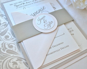 Blush, Champagne Wedding Invitation, Gold foil, Rose Gold Collection-->>Sample