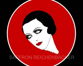 Flapper girl pocket mirror - Art Deco - Red