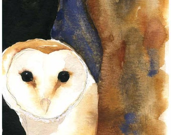 Barn Owl Watercolor - Bird Painting - Owl Art - Fine Art Print